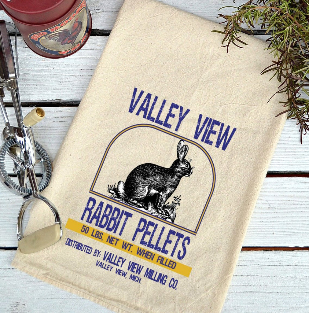 Farmhouse Natural Flour Sack Valley View Rabbit Pellets Country Kitchen Towel