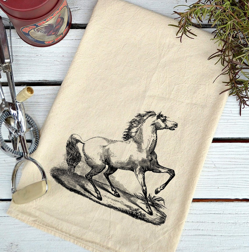Farmhouse Natural Flour Sack White Stallion Country Kitchen Towel