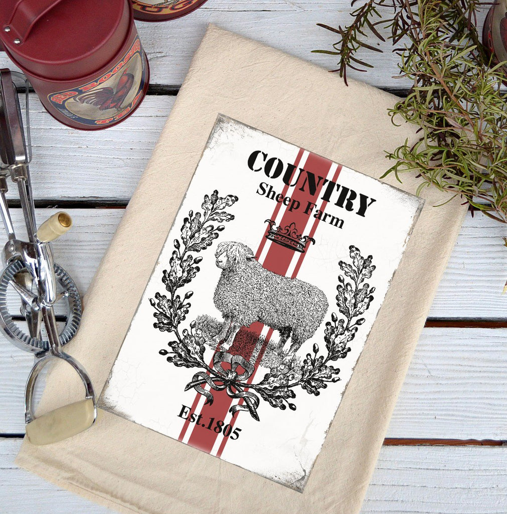Farmhouse Natural Flour Sack Country Sheep Farm Country Kitchen Towel