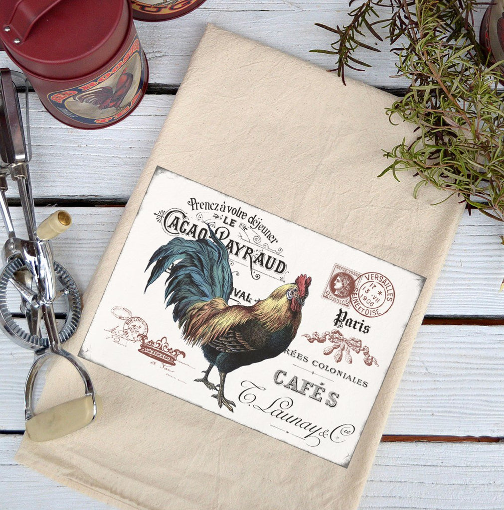 Farmhouse Natural Flour Sack French Rooster Country Kitchen Towel