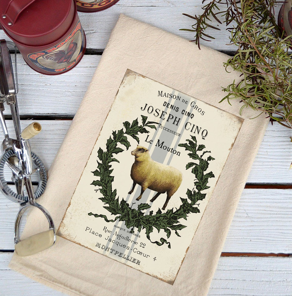 Farmhouse Natural Flour Sack Le Mouton Country Kitchen Towel