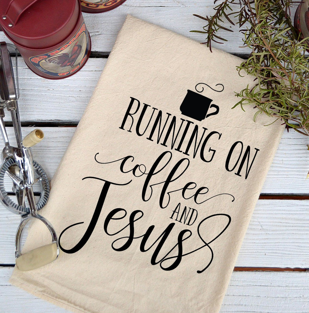 Farmhouse Natural Flour Sack Coffee and Jesus Country Kitchen Towel