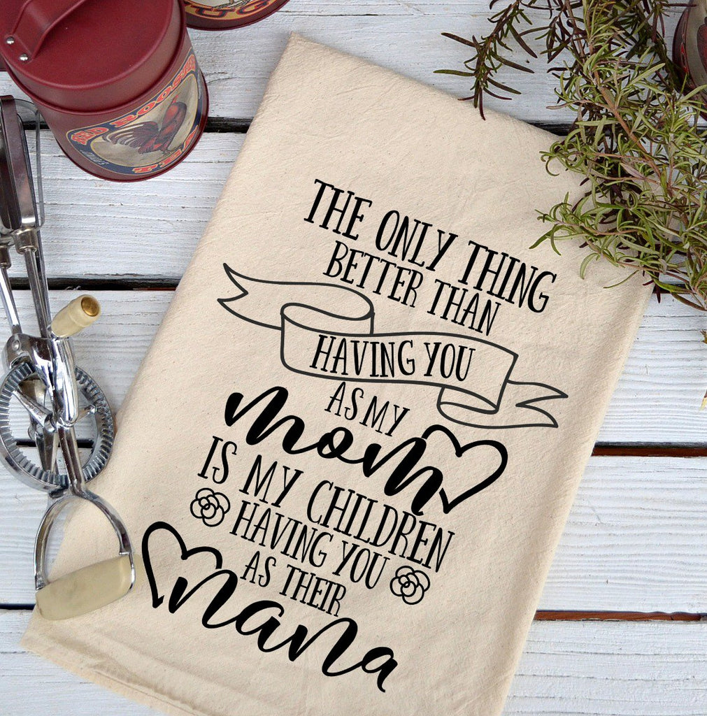 Farmhouse Natural Flour Sack Mom Nana Country Kitchen Towel