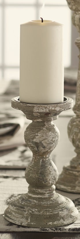 Small Distressed Gray, White, and Muted Green Wood Candlestick Candle Holder