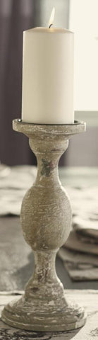 Medium Distressed Gray, White, and Muted Green Wood Candlestick Candle Holder