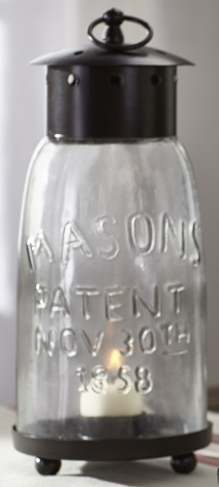 Large Mason Jar Lantern Candle Holder With Metal Top