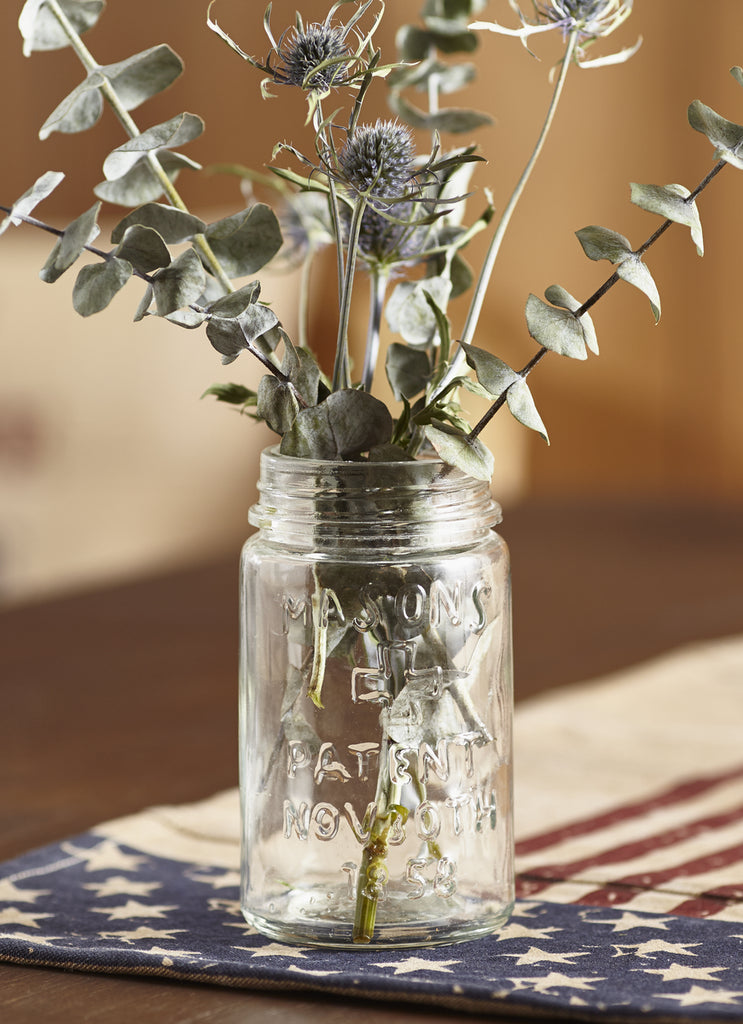 Basic Glass Mason Jar Country Floral Flower Vase, Small Item Holder Tabletop and Desk Decor