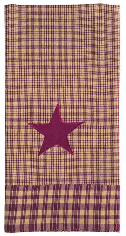 Vintage Star Wine - Burgundy Dishtowel - Country Farmhouse Kitchen Dish Towels