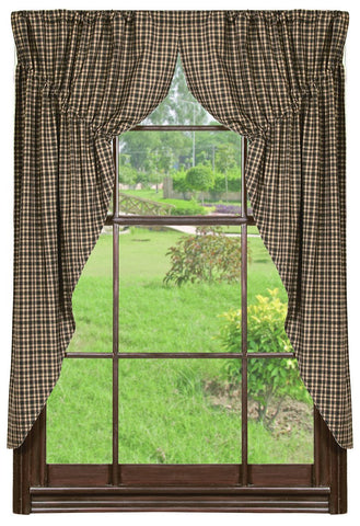 Vintage Star Black and Tan Prairie Curtain Set