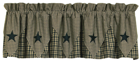 Vintage Star Black and Tan Pointed Valance