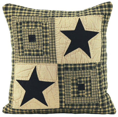 Vintage Star Black and Tan Quilted Pillow Cover
