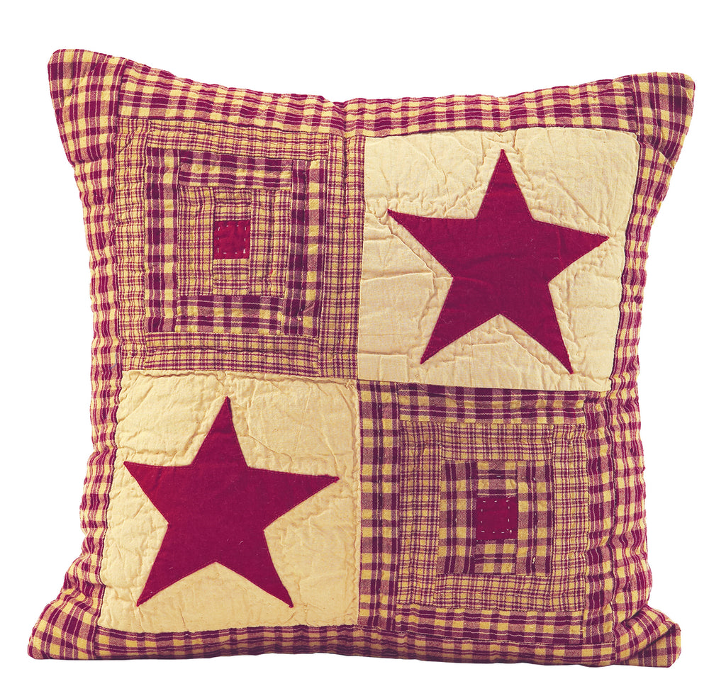 Vintage Star Wine - Burgundy Quilted Pillow Cover