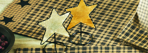 Vintage Star Black and Tan Short Table Runner