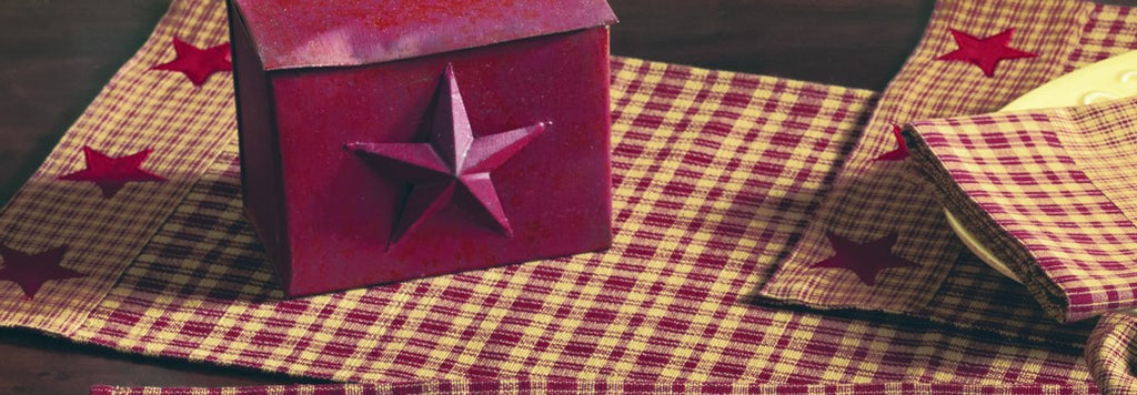 Vintage Star Wine - Burgundy Short Table Runner