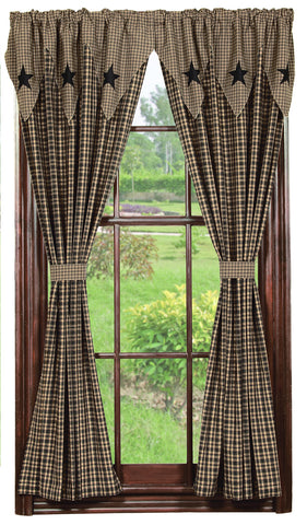 Vintage Star Black and Tan Short Panel Window Curtains Pair - 72x63 total - 2 inch rod pocket