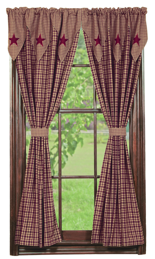 Vintage Star Wine - Burgundy Short Panel Window Curtains Pair - 72x63 total - 2 inch rod pocket