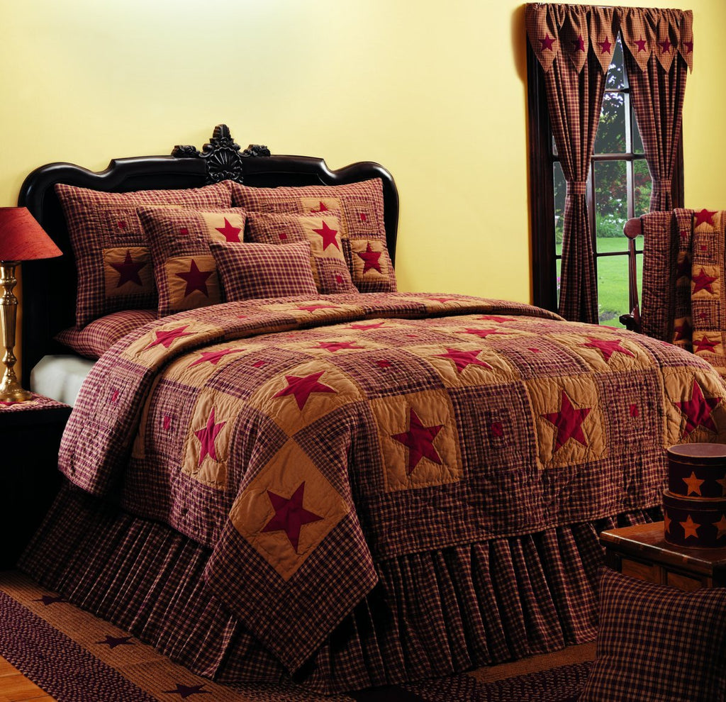 Vintage Star Wine - Burgundy King Quilt