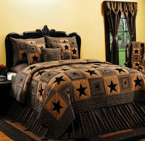 Vintage Star Black and Tan Queen Quilt
