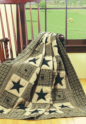 Vintage Star Black and Tan Quilted Throw Blanket