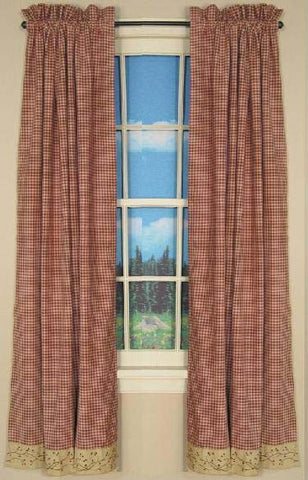 Checkerberry Panel Window Curtains Pair -72x84 total - 2 inch rod pocket