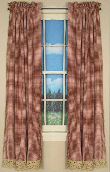 Checker Berry Short Panel Window Curtains Pair - 72x63 total - 2 inch rod pocket