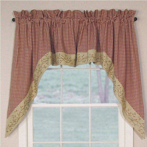 Checkerberry Swag Set Window Curtains Pair - 72x36 total - 2 inch rod pocket