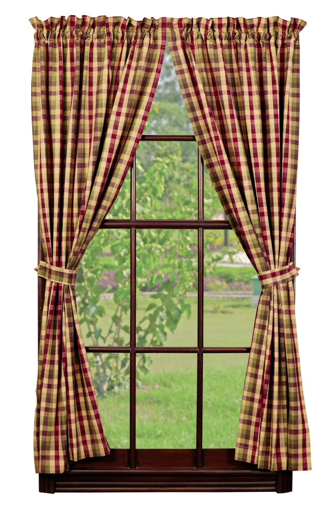 Apple Cider Short Panel Window Curtains Pair - 72x63 total - 2 inch rod pocket