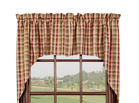 Apple Cider Swag Set Window Curtains Pair - 72x36 total - 2 inch rod pocket
