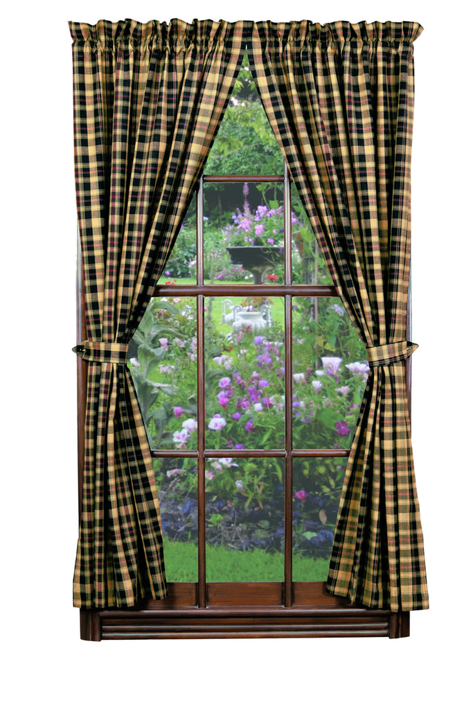 Tartan Short Panel Window Curtains Pair - 72x63 total - 2 inch rod pocket