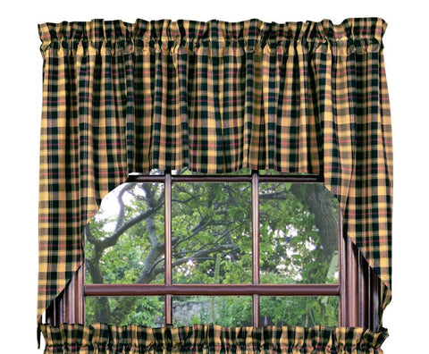 Tartan Swag Set Window Curtains Pair - 72x36 total - 2 inch rod pocket