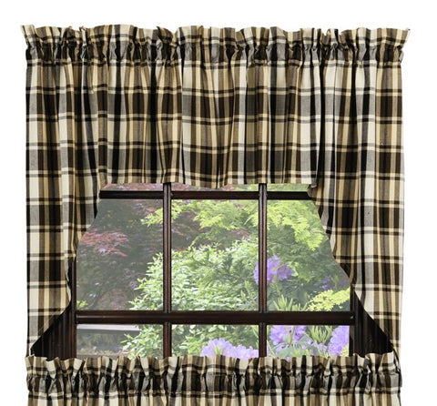 Moss Wood Swag Set Window Curtains Pair - 72x36 total - 2 inch rod pocket