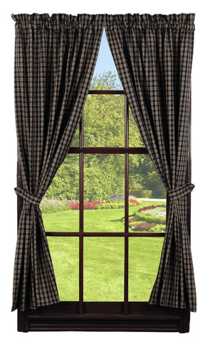 Cambridge Black Panel Window Curtains Pair -72x84 total - 2 inch rod pocket