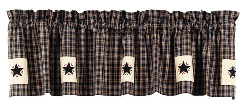 Cambridge Black Apllique Star Valance
