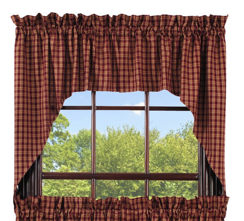 Cambridge Wine - Burgundy Swag Set Window Curtains Pair - 72x36 total - 2 inch rod pocket