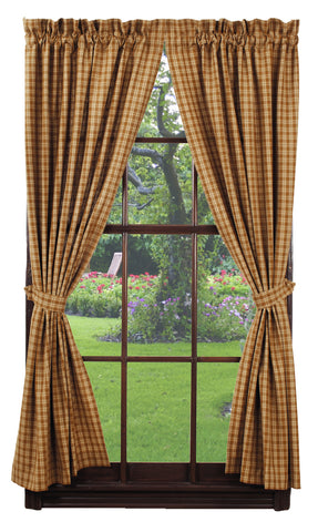 Cambridge Mustard Short Panel Window Curtains Pair - 72x63 total - 2 inch rod pocket