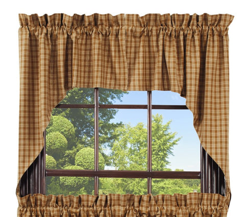 Cambridge Mustard Swag Set Window Curtains Pair - 72x36 total - 2 inch rod pocket