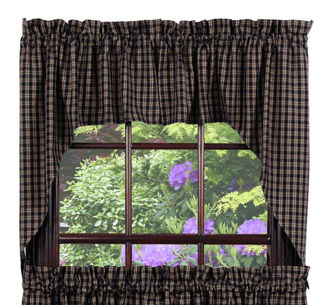 Cambridge Navy Swag Set Window Curtains Pair - 72x36 total - 2 inch rod pocket