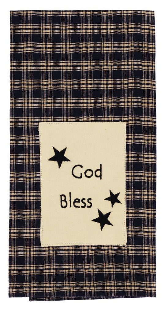 Cambridge Navy God Bless Dishtowel