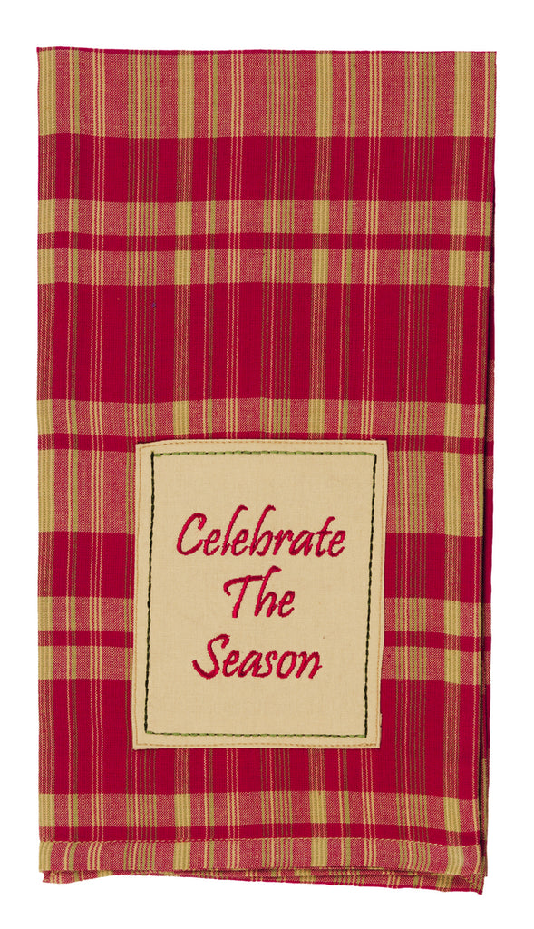 "Holiday Pine ""Celebrate The Season"" Dishtowel - Country Farmhouse Kitchen Christmas Holiday Dish Towels"