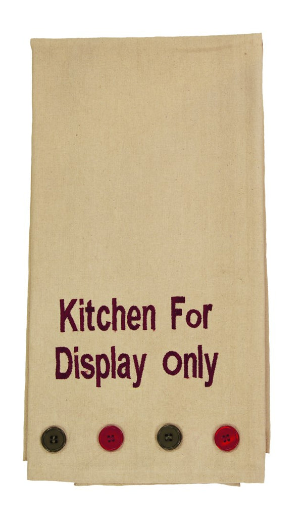 "Bramble ""Kitchen For Display Only"" Embroidered Dishtowel - Country Farmhouse Kitchen Funny Dish Towels"