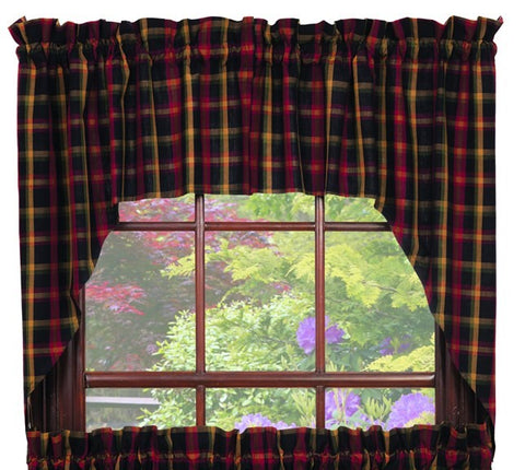 Bramble Swag Set Window Curtains Pair - 72x36 total - 2 inch rod pocket