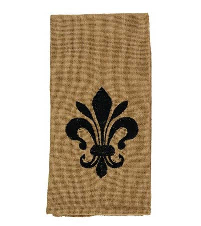 Soft Cotton Burlap Star Tan Fleur Di Lis Dishtowel