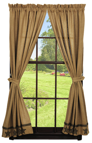 Soft Cotton Burlap Star Tan Panel Window Curtains Pair -72x84 total - 2 inch rod pocket