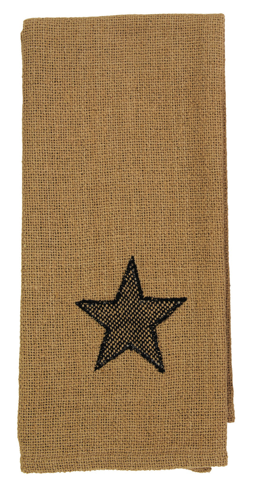 Soft Cotton Burlap Star Tan Dishtowel