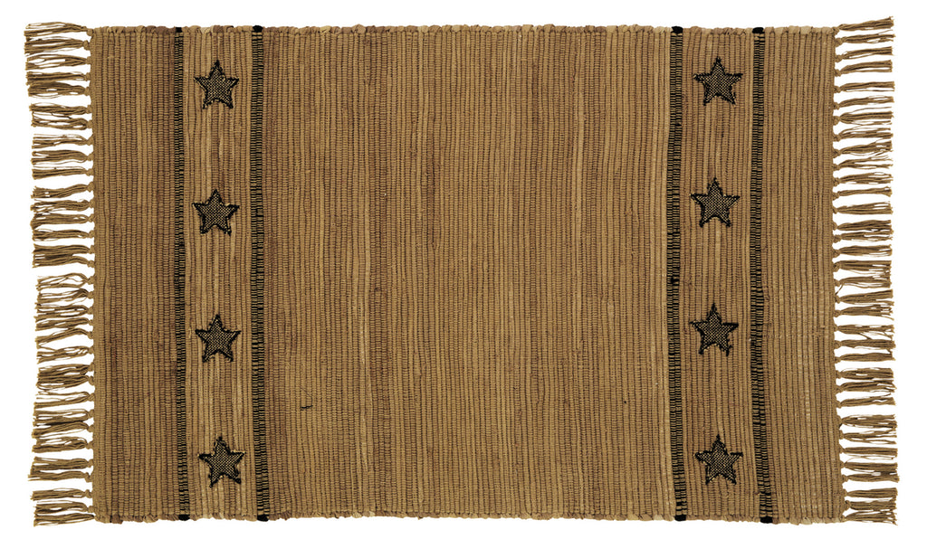 Soft Cotton Burlap Star Tan Rectangle Rug