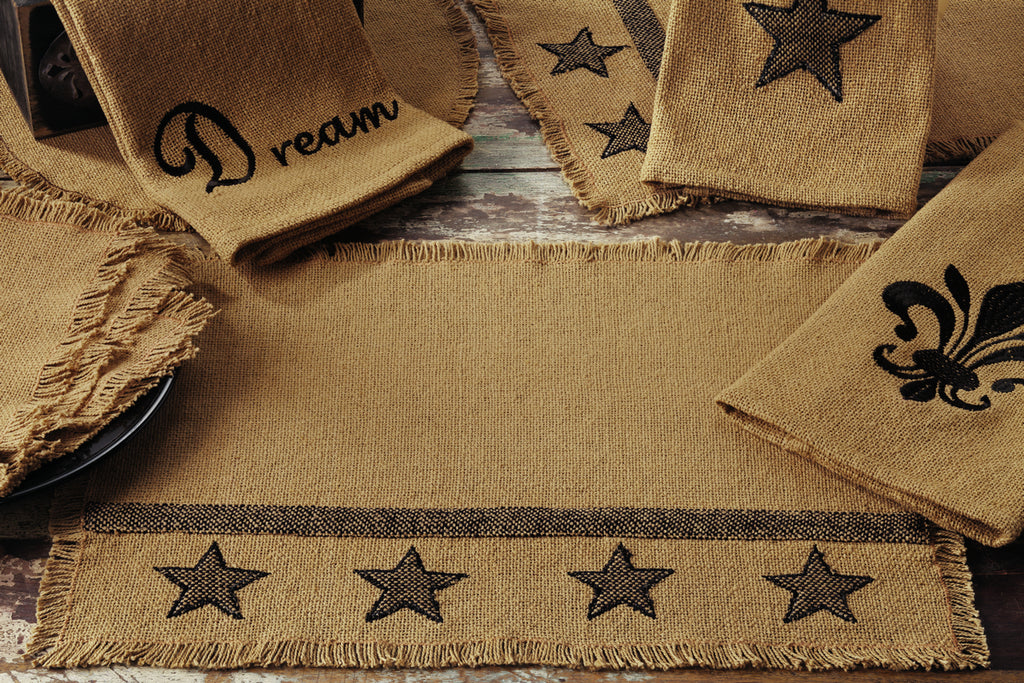 Burlap Star Short Table Runner