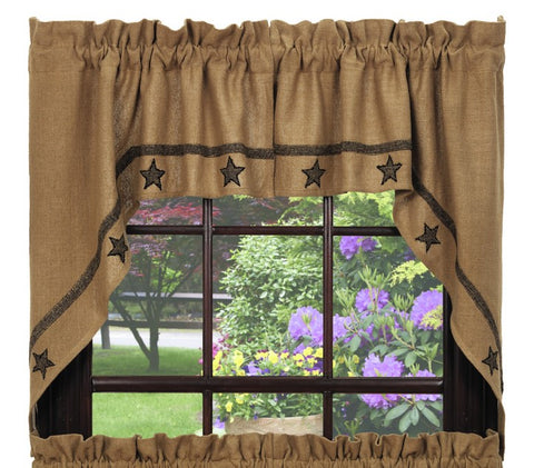 Soft Cotton Burlap Star Tan Swag Set Window Curtains Pair - 72x36 total - 2 inch rod pocket