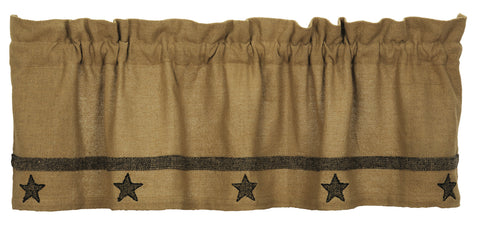 Soft Cotton Burlap Star Tan Valance