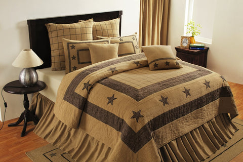 Soft Cotton Burlap Star Tan King Quilt
