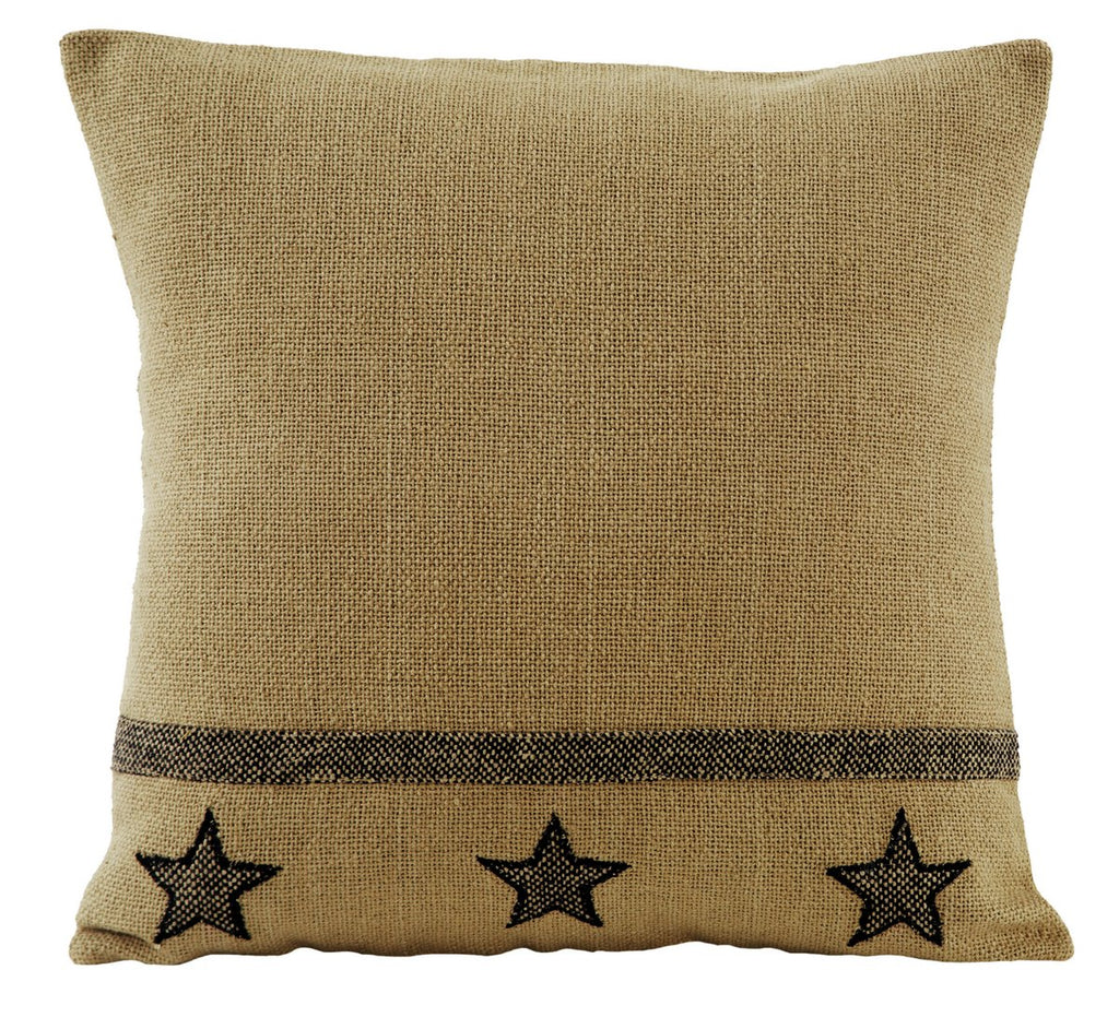 Soft Cotton Burlap Star Tan Pillow Cover